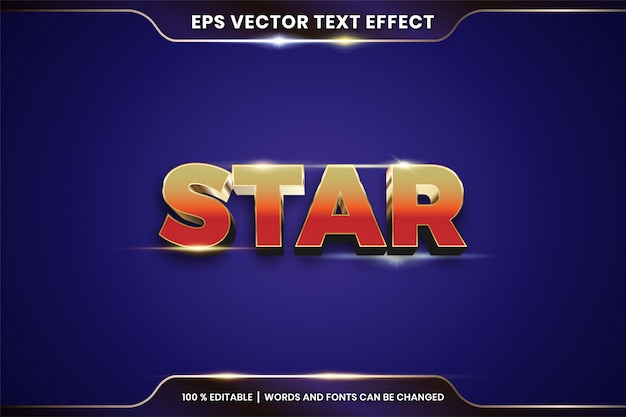 Текстовый эффект в теме текстового эффекта звездных слов, редактируемая концепция цвета металла и золота