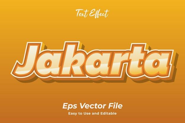 Текстовый эффект джакарта редактируемый и простой в использовании премиум векторы