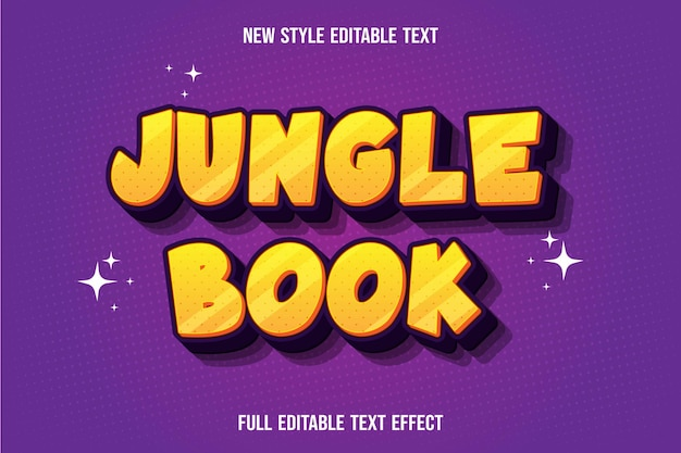 Text effect jungle book color yellow and purple