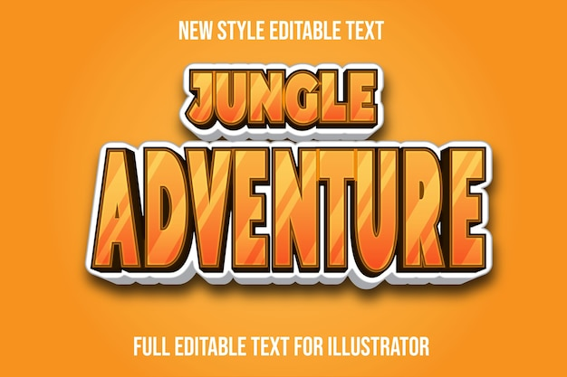 Текстовый эффект джунглей цвета коричневого и белого градиента
