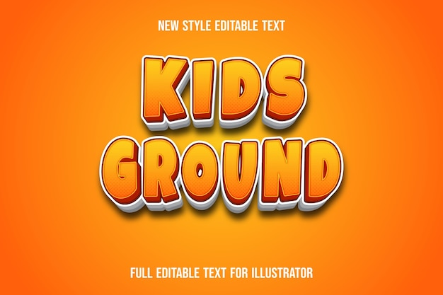 Text effect kids ground color orange and white gradient