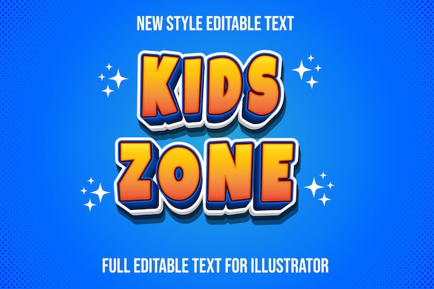 Text effect kids zone color orange and blue gradient