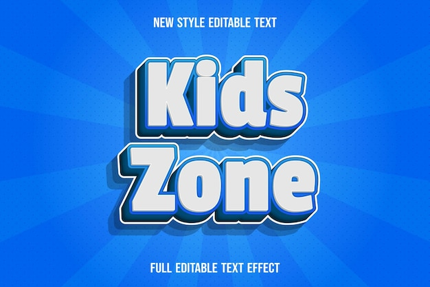 Text effect kids zone with color white and blue gradient