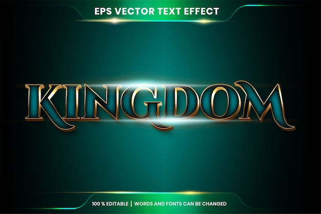 Text effect in kingdom gold words, font styles theme editable realistic metal gold and gradient tosca color combination with flare light concept