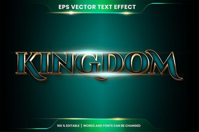 Effetto di testo in parole d'oro del regno, tema stili di carattere modificabile in metallo oro realistico e combinazione di colori sfumati tosca con concetto di luce bagliore