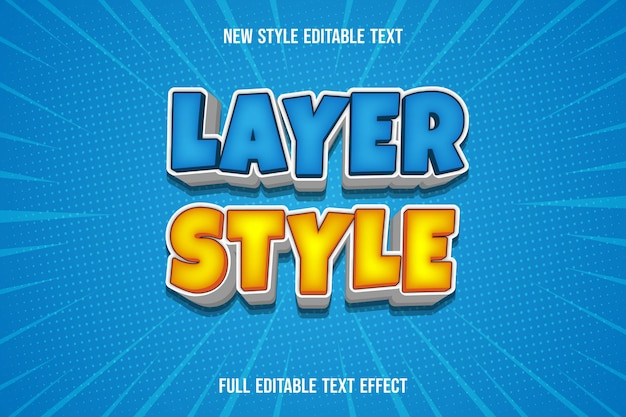 Text effect  layer style color blue and yellow white gradient