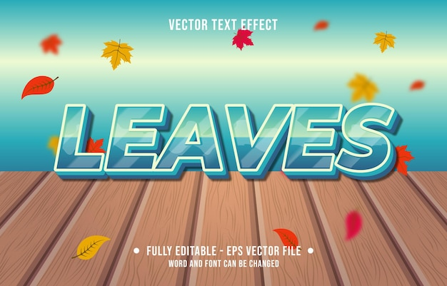 Text effect leaves gradient style autumn season background