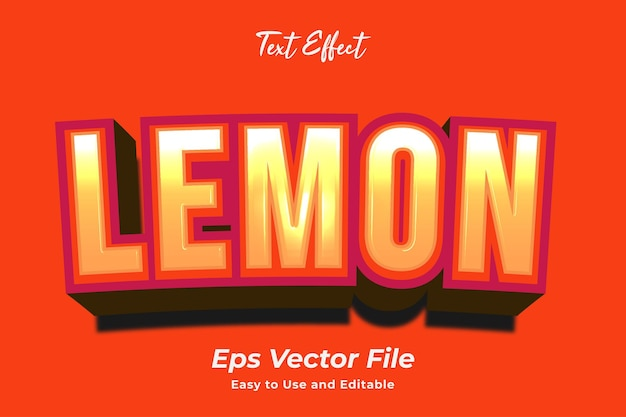 Text effect lemon editable and easy to use premium vector