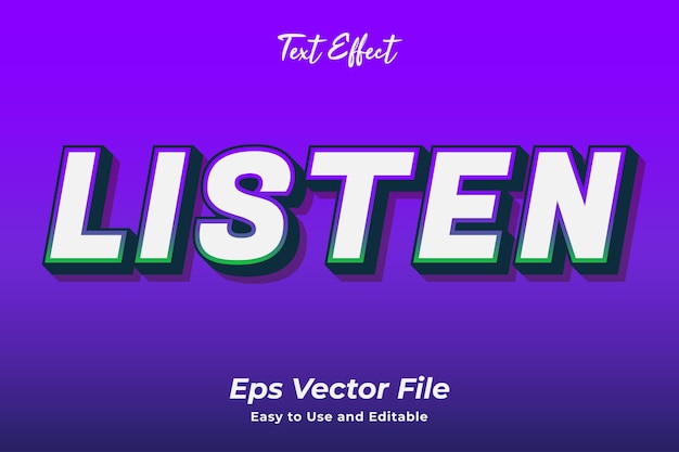Текстовый эффект слушать редактируемый