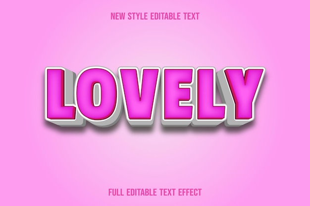 Text effect lovely with color pink and white gradient Premium Vector