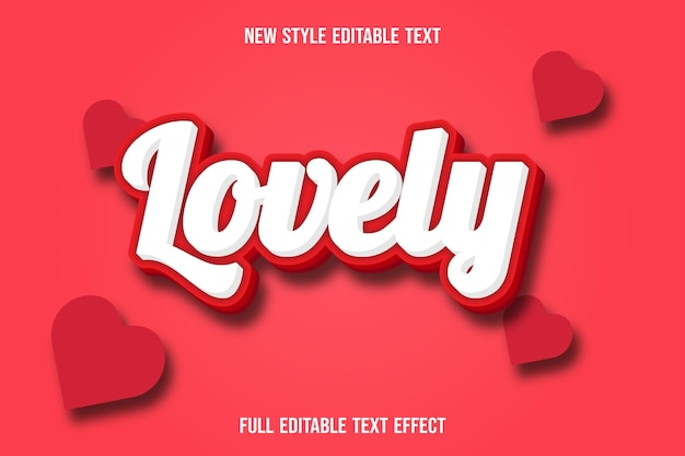 Text effect lovely with color white and red gradient