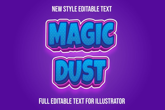Text effect  magic dust color blue and pink gradient