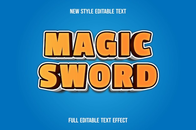 Text effect magic sword on brown and white gradient