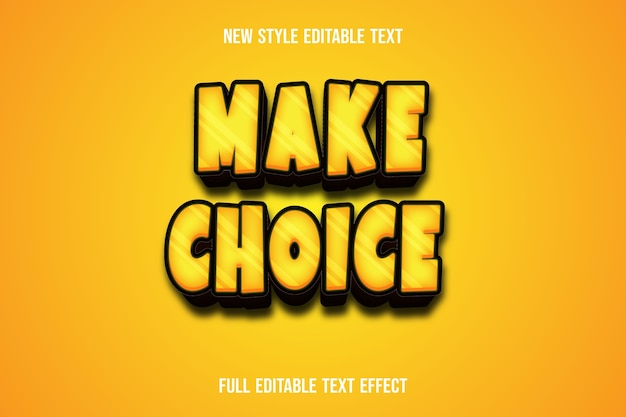 Текстовый эффект делает выбор цвета желтого и коричневого градиента