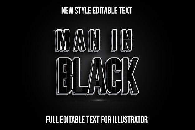 Text effect man in black color black and silver gradient