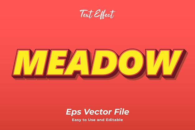 Text effect meadow editable and easy to use premium vector