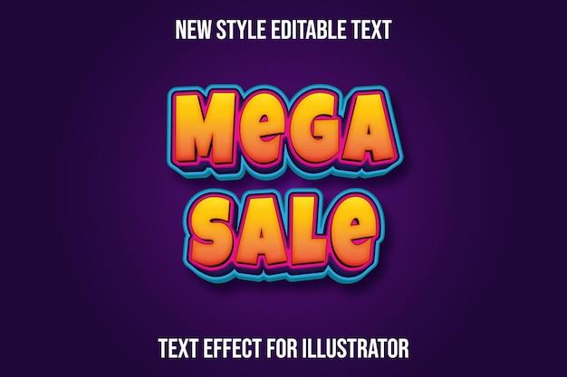 Текстовый эффект мега распродажа цвет оранжевый и фиолетовый, синий градиент