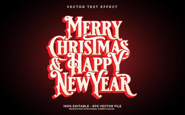 Текстовый эффект с рождеством и новым годом