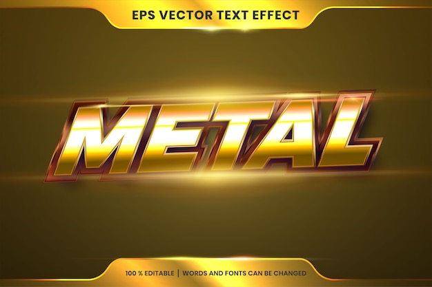 Text effect in metal gold words, font styles theme editable realistic metallic gradient bronze and gold color combination with flare light concept