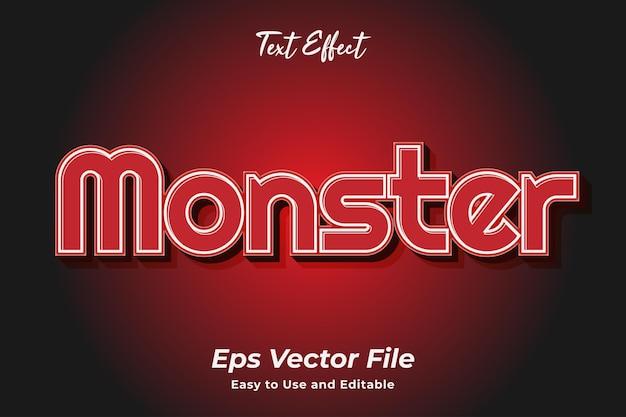 Текстовый эффект monster редактируемый и простой в использовании премиум векторы
