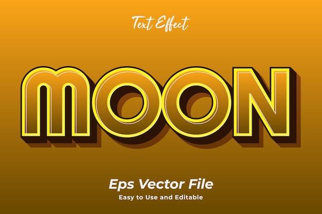 텍스트 효과 달 편집 가능하고 사용하기 쉬운 프리미엄 벡터