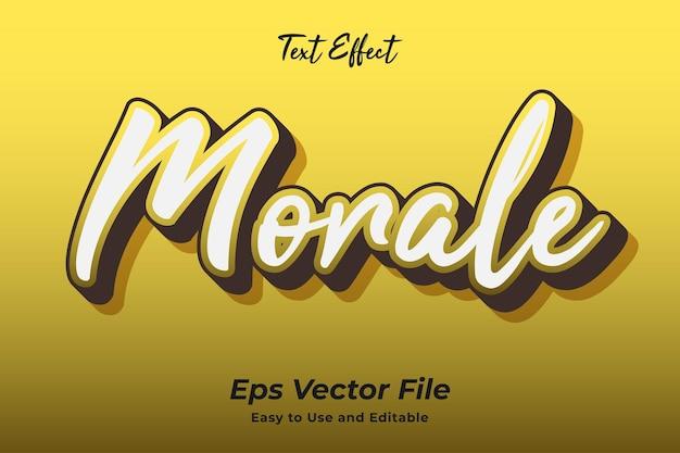 Текстовый эффект моральный дух редактируемый и простой в использовании премиум векторы