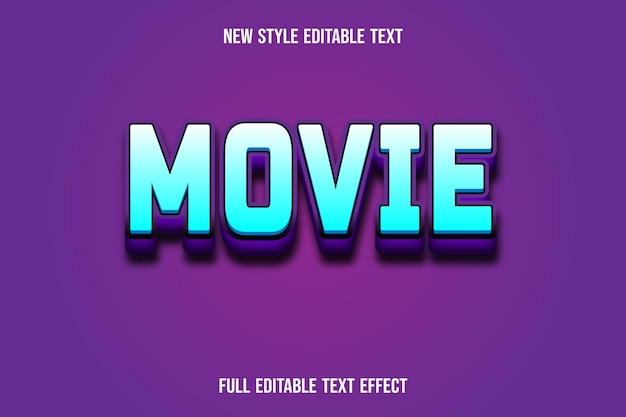 Text effect movie on blue and purple gradient