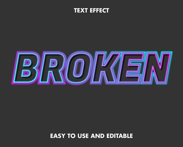 Текстовый эффект - сломанный неон. редактируемый стиль шрифта.