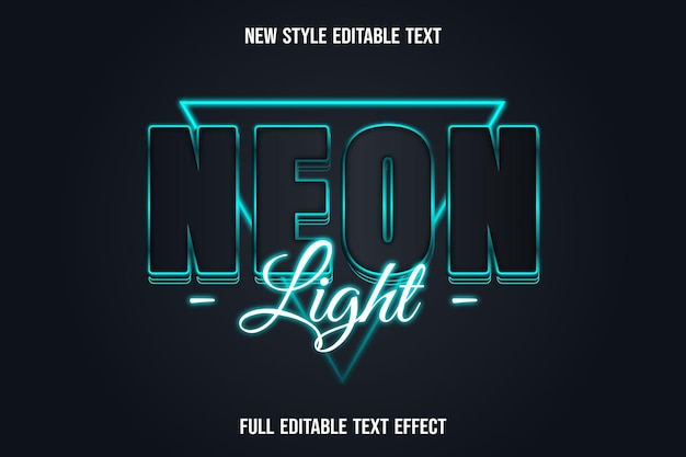 Text effect neon light color blue and purple