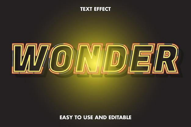 텍스트 효과-네온 원더. 편집 가능하고 사용하기 쉽습니다.