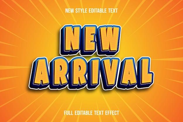 Текстовый эффект нового прибытия цвет светло-коричневый и синий градиент