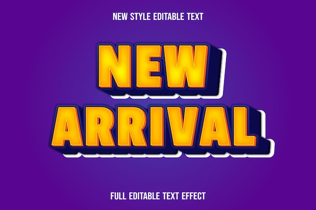 Text effect new arrival with color yellow and blue gradient