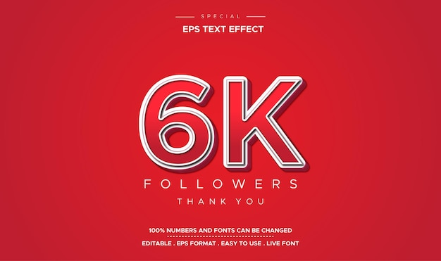 Text effect number 6k followers in red