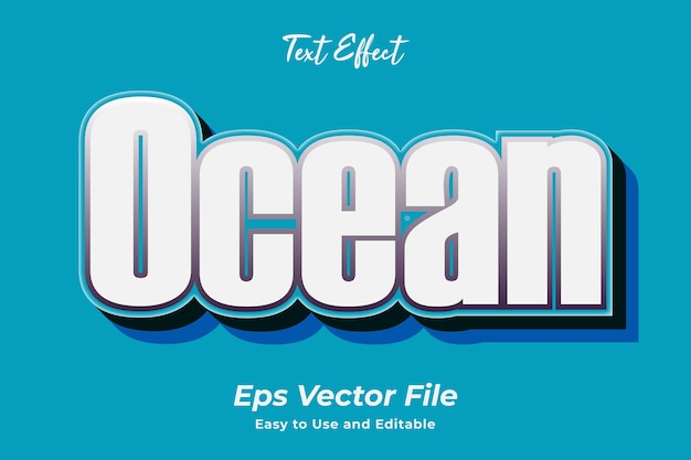 Text effect ocean editable and easy to use premium vector