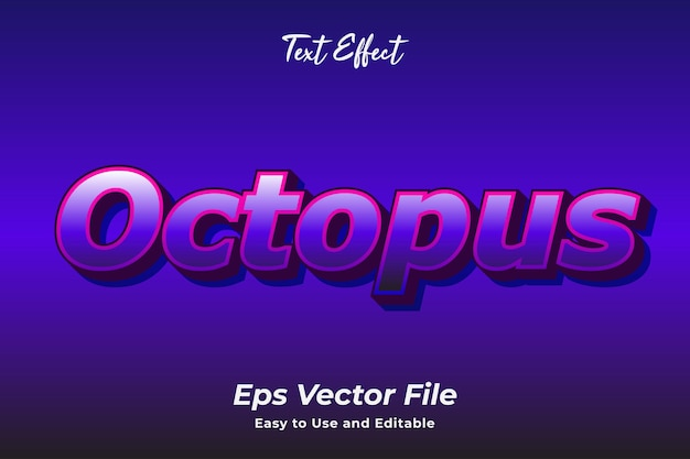 Text effect octopus editable and easy to use premium vector