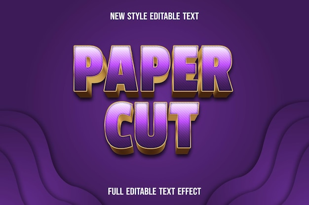 Text effect paper cut with color purple and gold gradient