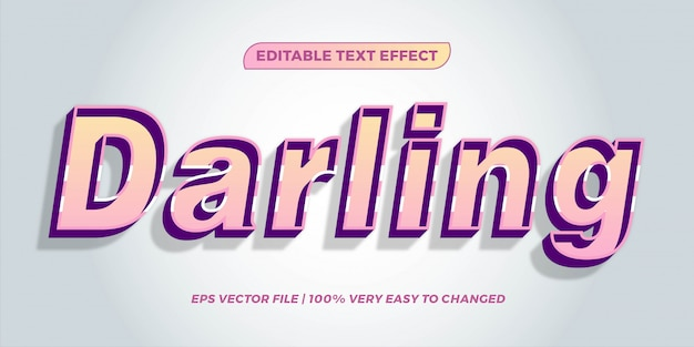 Text effect in  pastel color darling words text effect theme editable retro concept Premium Vector