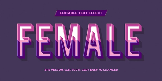 Text effect in  pastel color female words text effect theme editable retro concept