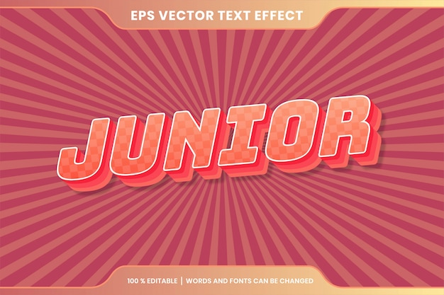 Text effect in pastel color junior words text effect theme editable retro concept