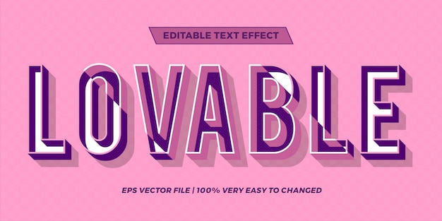 Text effect in  pastel color loveable words text effect theme editable retro concept