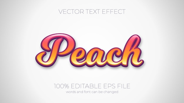 Text effect of peach vector illustration