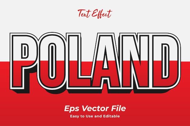 텍스트 효과 폴란드 편집 가능하고 사용하기 쉬운 프리미엄 벡터