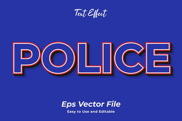 Text effect police easy to use and editable premium vector