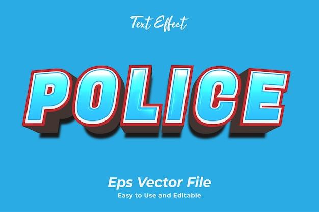 텍스트 효과 경찰 편집 가능하고 사용하기 쉬운 프리미엄 벡터
