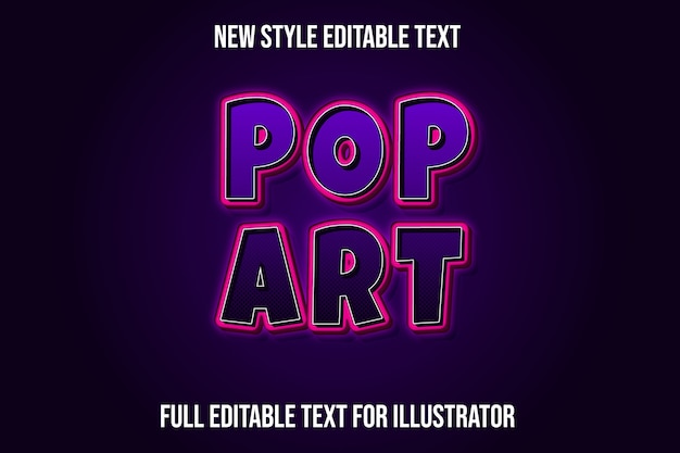 Text effect pop art color purple and pink gradient