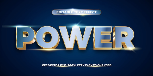 Text effect in  power words text effect theme editable metal gold chrome color concept