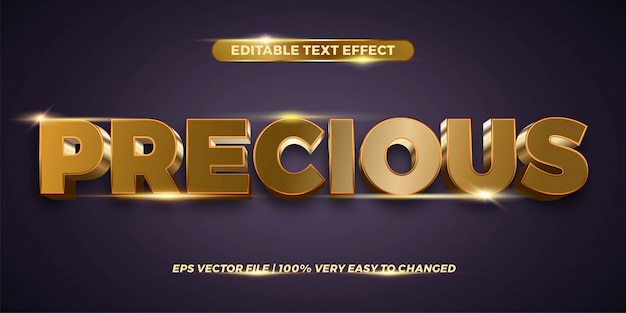 Text effect in  precious words text effect theme editable metal gold color concept