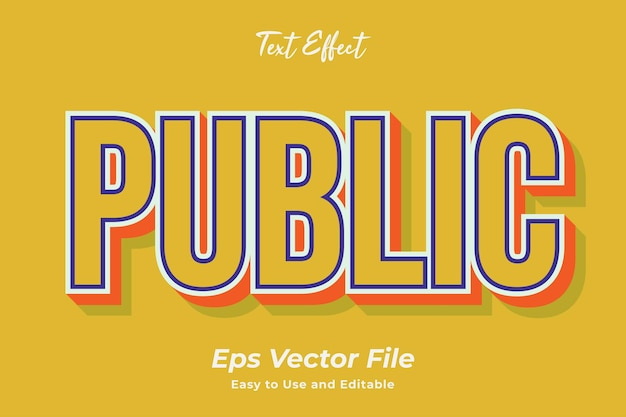 Text effect public editable and easy to use premium vector