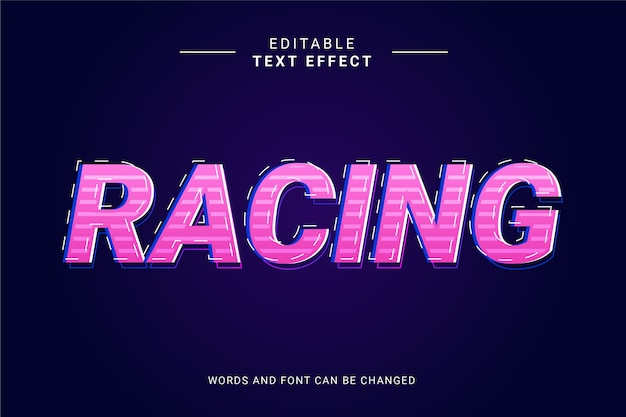 Text effect racing racer with line and pink purple gradient color