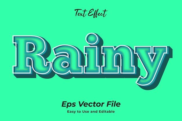 Текстовый эффект rainy простой в использовании и редактируемый premium векторы